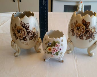 3 antique ceramic egg shaped 3 footed planters / vases - napco lefton ardco japan - roses applied flowers hand painted pottery art deco