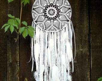 Large white  lace dreamcatcher Boho wedding decor Bedroom decoration wall hanging Dreamcatcher with crystals  Hippie style home decoration
