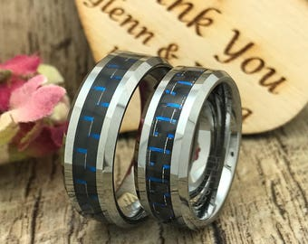 8mm His and Hers Tungsten Ring, Personalized Carbon Fiber Tungsten Ring, Wedding Ring, Couples Ring, Comfort Fit TCR440