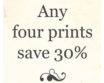 SALE!  Save 30% when you purchase any four prints!