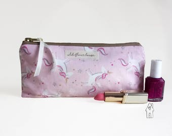 Unicorn Pencil Case, Small Makeup Bag, Zipper Pouch, Pink Make Up Brush Holder, Unicorn Gift, Cosmetics Bag, Bag Organiser, Old Flour House