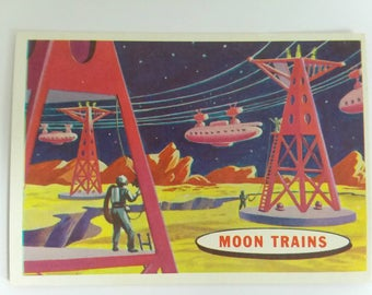 Moon Trains Topps Target Moon Trading Card Number 62 of 88 1958 Salmon Back Non Sports Atomic Age Mid Century Collectible Card Epoch Echo