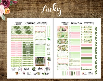Lucky | Mini Recollections Planner | Printable Planner Stickers | Planner Printables | Printables | St Patricks Day | Shamrocks | Cut Files