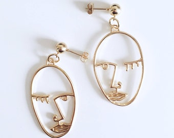 Rose Gold Abstract Face Wink Stud Earrings / Dorée Sexy Visage Boucles d'Oreilles / Statement BO