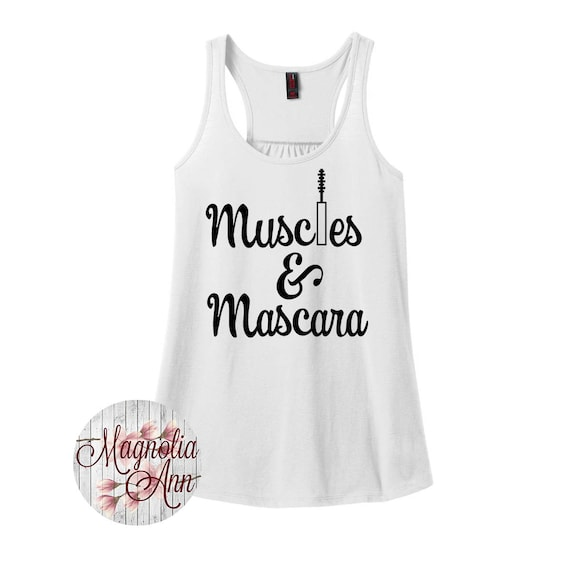 Muscles and Mascara, Gym, Workout, Fitness, Women's Racerback Tank Top in 9 Colors in Sizes Small-4X, Plus Size