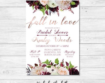 Fall in Love Bridal Shower Invitation, Peony Bridal Shower Invite, Rose Gold Bridal Shower Invitation, *DIGITAL FILE*