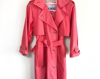 COLLECTION • COAT • S / M • Vintage jacket • Raspberry • Pink • Women • 90's Trenchcoat