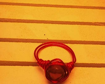 Red Wire Wrapped Glass Bead Ring