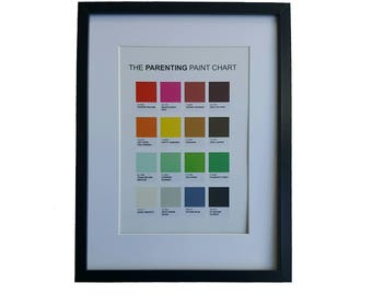 The Parenting Paint Chart A4 wall art print poster