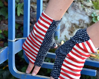 Fingerless gloves with thumb Jersey Navy Blue, red and white, with dots and stripes