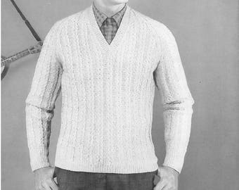 Vintage Men's Cable V-neck Pullover Sweater Knitting Pattern PDF 1954