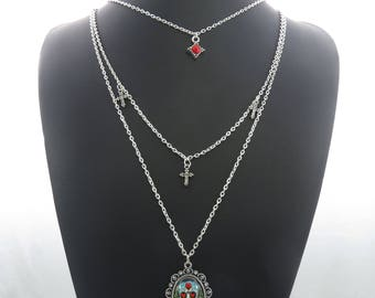 Sugar Skull, Crosses, Faux Red Gem Charm Pendant Multi-Layer Silver-Tone Chain Necklace Statement Sweater Chain ladies jewellery UK SELLER