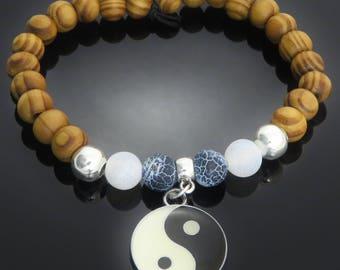 Yin Yang Charm, Silver Tone, Dyed Black & White Stone, Burly Wood Bead Bracelet surfer yoga meditation mens ladies gift jewellery UK SELLER