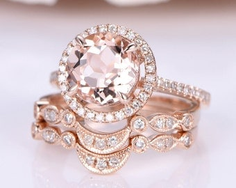 Wedding Ring Set Morganite Engagement Ring 7mm Round Cut Main Stone Art Deco Curved Diamond Wedding Band Solid 14k Rose Gold Bridal Set