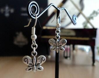 Earrings - silver - etched Butterfly 3.5 cm