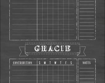 Kids Chore Chart, 18x24 Custom, Family Chore Chart, Job Chart, Contribution Chart, #1845