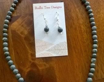Sale! Dark Green Serpentine Stone Bead Necklace, Statement Necklace, Healing Jewelry, Chakra Jewelry, Necklace Earring Set, Stone Jewelry