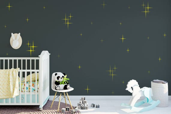 Retro Starbursts Vinyl Wall Decals, Confetti Stars - Nursery Decor - Cluster Sparkle Star Decals ABST2