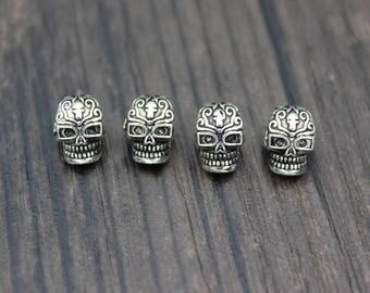 Sterling Silver Skull Bead, Skull head, Skull spacer bead,3D skull