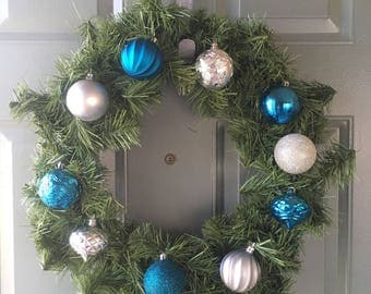 Silver and Blue Wreath