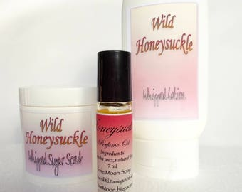 Honeysuckle Gift Set - Perfume Oil, Whipped Sugar Scrub, Whipped Body Lotion - All Natural - Raspberry Seed Oil - Shea Butter - Bath Set
