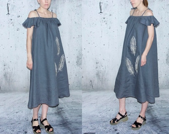 Womens linen dress, Linen summer dress, Boho dress, Blue linen dress, Summer dress pockets, Loose dress, Maternity dress