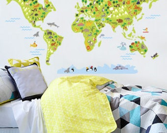 World Map Wall Decal, World Map For Kids, World Map Sticker For Kids, Wall Decals For Kids , Wall Sticker For Kids, World Map Wall Décor