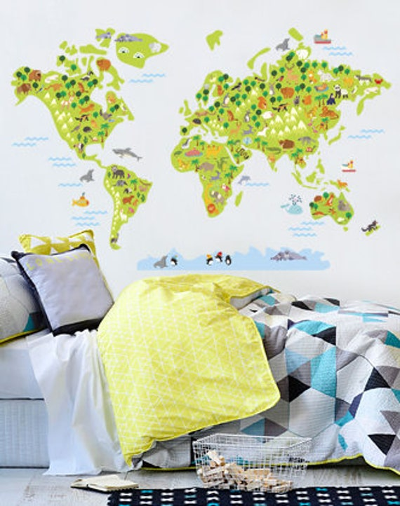 World Map Wall Decal World Map For Kids World Map Sticker