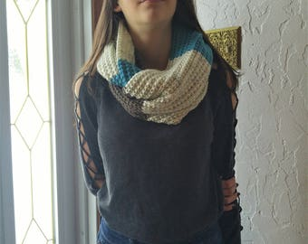 Infinity scarf shades of blue and gray, two laps, multi-tone scarf, perfect for the winter scarf knitted by hand