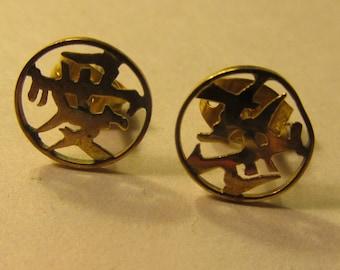 Vintage 14-Karat Gold Stud Earrings of Chinese Good Fortune Symbol, 9mm