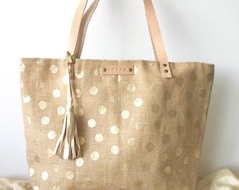 Metallic gold dots tote bag, shoulder handbag with leather tassel charm, Jute tote bag, beach bag, Christmas present or gift