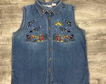 Vintage 90s Cabin Creek Denim Embroidered Dolphins Sea Beach Scene Button  Up Vest - Women's Large