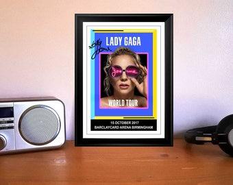 Lady GaGa Joanne Birmingham 15th October 2017 Concert Flyer Autographed Signed Print