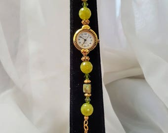 Handcrafted Green Jade and Swarovski Crystal Watch