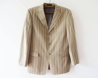 Beige Striped Sport Coat Sand Brown Men Blazer Summer Sport Coat Men Preppy Jacket Urban Casual Hipster Blazer Boyfriend Gift Large