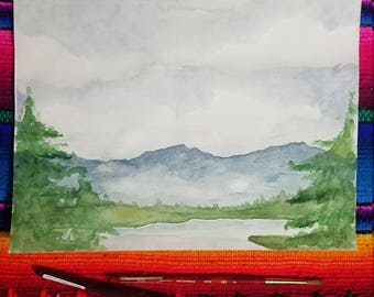 Watercolor Mountain view