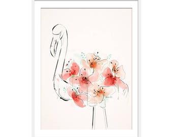 Flamingo Print. Flamingo Gift. Flamingo Art. Floral Art. Green Lili. Wall Art.