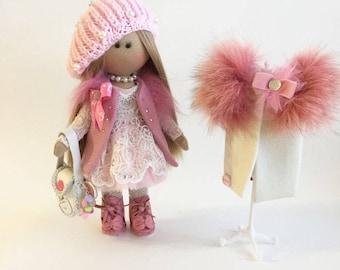 Handmade Doll Fabric Doll Pink Doll Nursery Doll Collectable Doll Cloth Doll Baby Doll Rag Doll Interior Doll Tilda Decor Doll Art doll