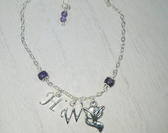 Vixen Hotwife Anklet, Initial Jewelry, Genuine Amethyst Beads, Personalized Jewelry, Sexy Anklets, Swinger Jewelry, Kinky