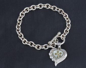 Real Four Leaf Clover Charm Bracelet, Sterling Silver Bracelet, Lucky Charm Bracelet, Vintage Cable Chain Bracelet, Heart Charm Bracelet