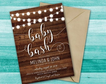 Baby Bash Shower | Baby Bash Baby Shower Invitation | Rustic Baby Shower | String Lights | Wood | Couples Baby Shower | Baby Bash Invite
