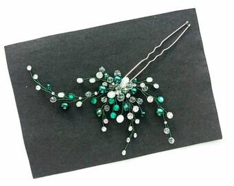 Emerald Crystal pins,  Bridal hair pins,   Hair Pin, Pearl hair pins,  Bridal Hair Comb,  Wedding Hair Accessory,  Bridal bobby pins