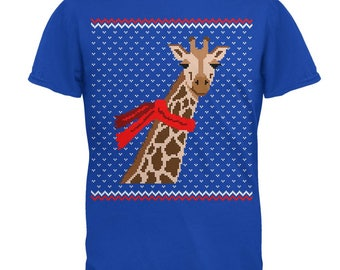 Big Giraffe Scarf Ugly Christmas Sweater Mens T Shirt