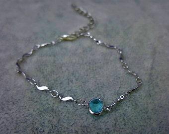 Aquamarine bracelet, dainty bracelet, 40th birthday gift , 50th birthday gift for women, 60th birthday gift , 70th birthday gift for mom,