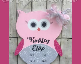 Owl Love You Forever / Baby Owl / Hospital Door Hanger / Baby Girl / Birth Announcement / Hospital Wreath