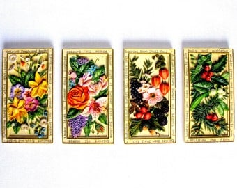 Vintage English Wall Plaques / The Four Seasons / Hand Painted Wall Plaques / Wall Decoration / Floral / Ornaments & Accents / Set Of Four