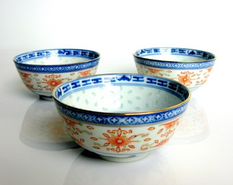 Chinese Rice Grain Translucent Bowls / Set Of 3 / Soup Bowls / Gold & Red Trim / Blue / White / Hand Painted / Rice Grain Porcelain / 1960s