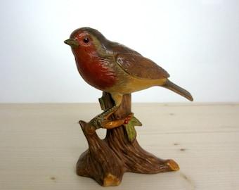 Vintage / Robin on Branch / Porcelain Bird Figurine / England / Garden Birds / Hand Painted / Bird Figurine / Bird Lover Gift/ Window Decor