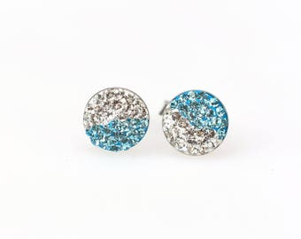 Sterling Silver Pave Radience Stud Earrings, Swarovsky Crystals, Half and Half, Aquamarine and White, Unique and Chic Style Stud Earrings.