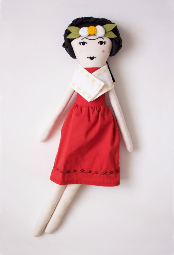 Mexican Painter Frida Kahlo Cloth Doll: handmade with eco-friendly material